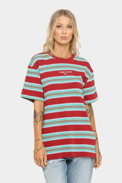 Tommy Jeans Stripe Layout T-Shirt Wine Red/Multi