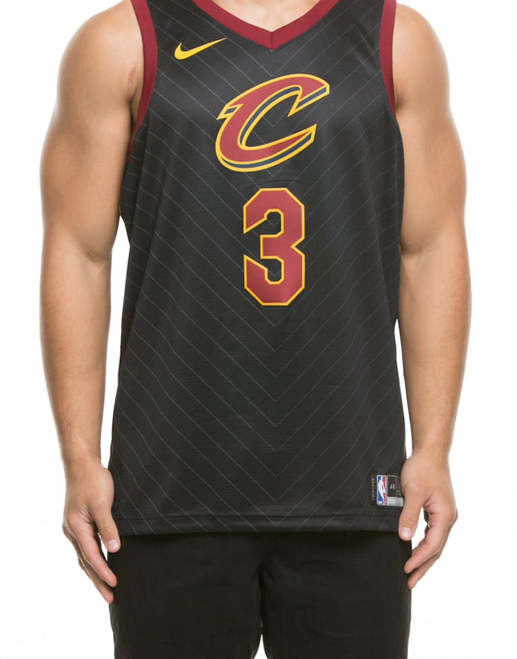 new concept 72161 fb04c Nike Cleveland Cavaliers #3 Isaiah Thomas Alternate Swingman Jersey  Black/Red/Gold