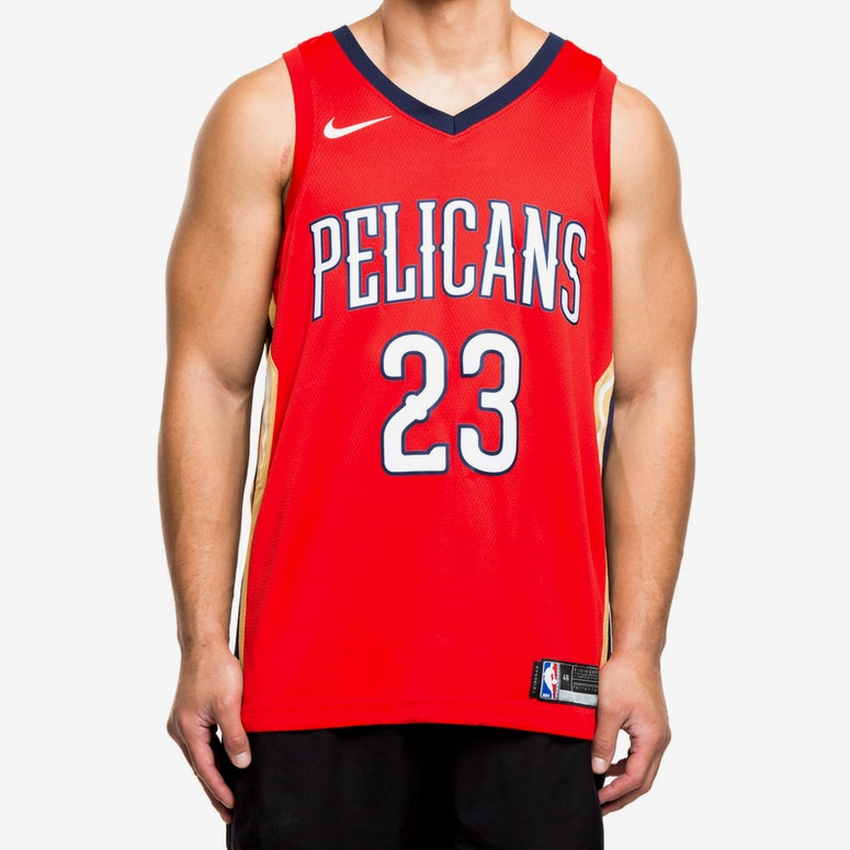 Nike New Orleans Pelicans 23 Anthony Davis Statement Edition Swingman Jersey Red Navy