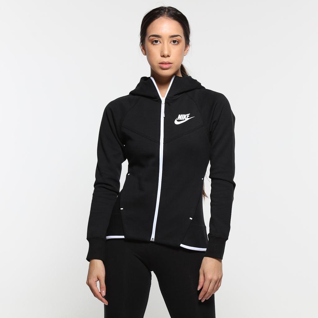 Nike Women's Sportswear Tech Fleece Windrunner Full Zip Hoodie BlackWhite