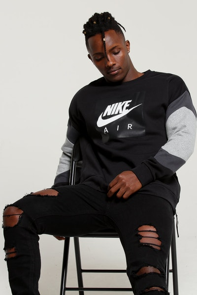Nike Sportswear Air Crew Fleece Black/Anthracite/Heather