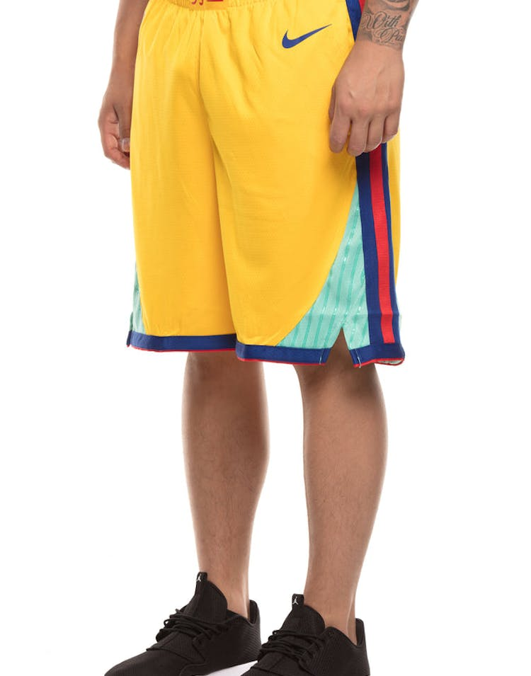 new collection really comfortable uk cheap sale Golden State Warriors Nike NBA City Edition Swingman Shorts Yellow/Blue