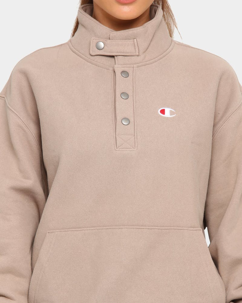 Champion Men's Reverse Weave Quarter Snap Pullover Dark Khaki