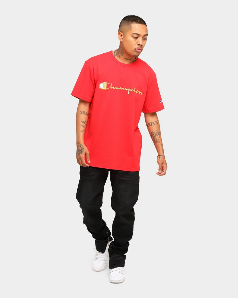 Champion Men's Heritage Script Short Sleeve T-Shirt Red/Gold