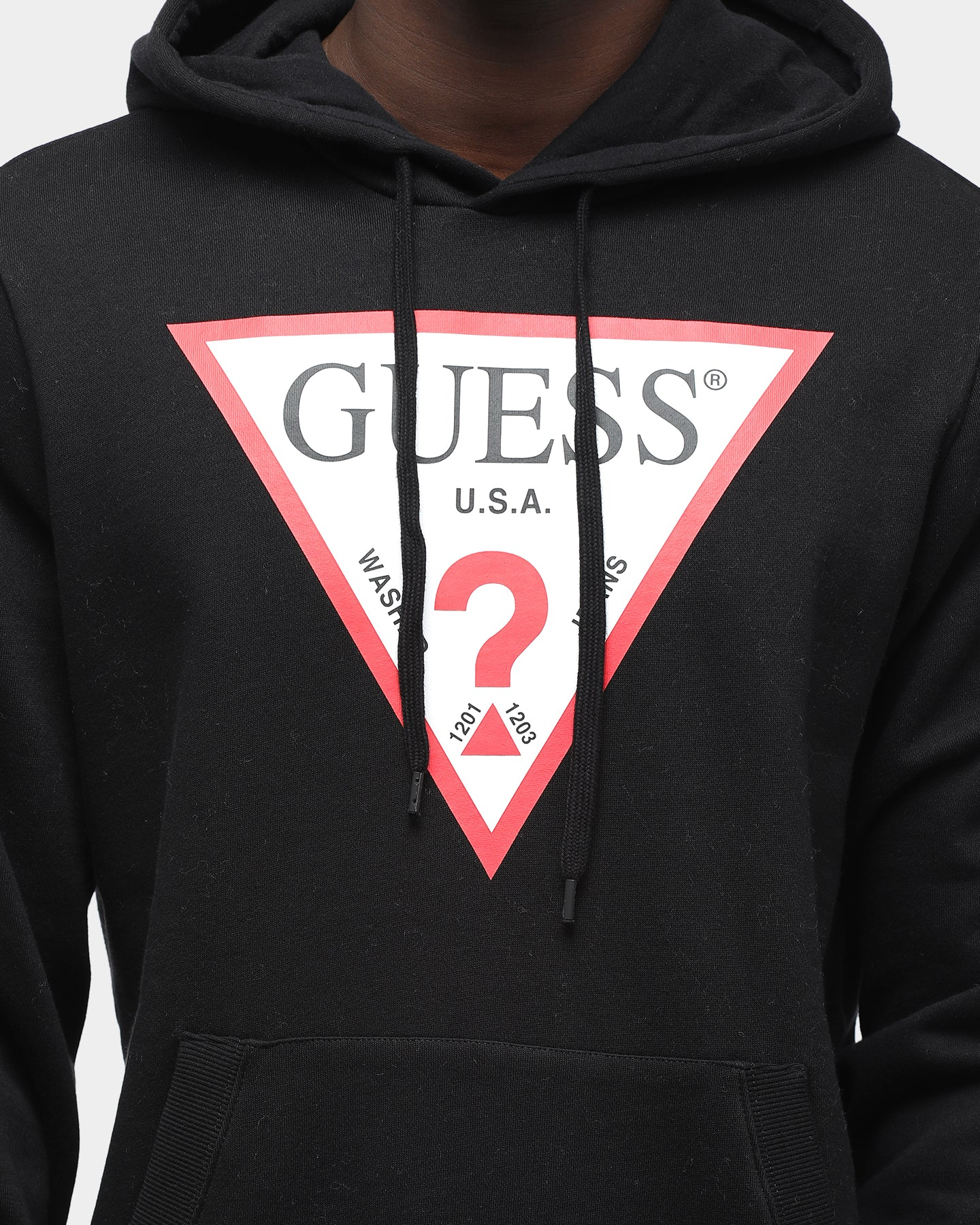 Guess Men's Long Sleeve Eco Roy Triangle Logo Hoodie Black