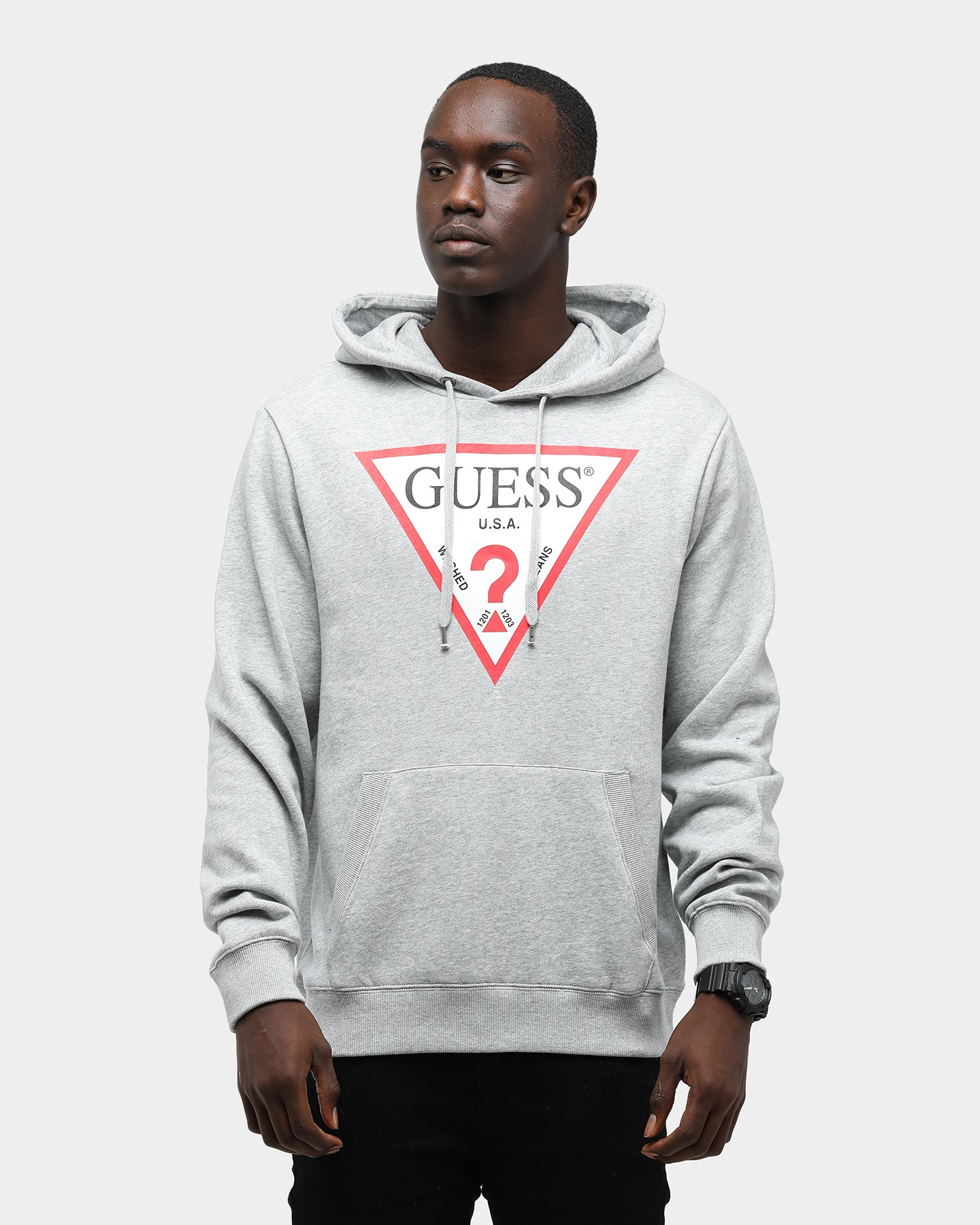 Guess Men's Long Sleeve Eco Roy Triangle Logo Hoodie Grey Heather