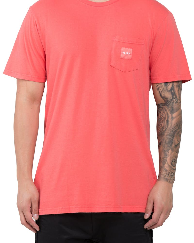 Huf Woven Label Pocket Tee Coral