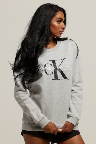 9cc4e7f5d83 Calvin Klein Women s Core Monogram Sweatshirt Light Grey