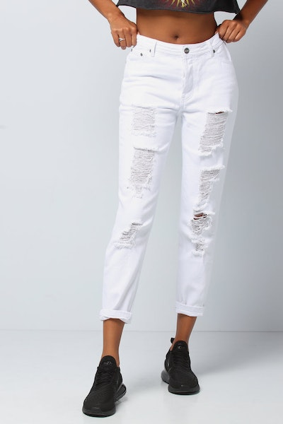 Nana Judy Women's Bonnie Boyfriend Jean White Denim