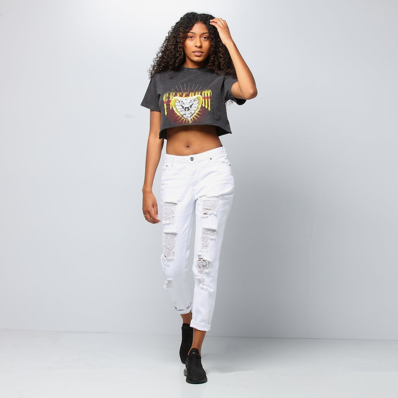 Nana Judy Women's Nash Crop Tee Vintage Black