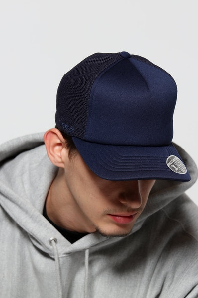 Flexfit Diamond Hi Crown Trucker Snapback Navy