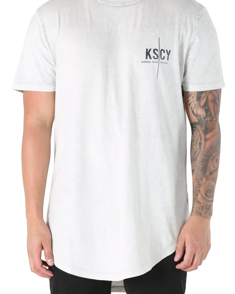 Kiss Chacey Nothing Lasts Dual Curve Hem Tee Acid Grey