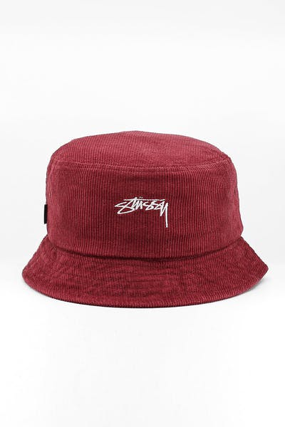 Stussy Authentic Cord Bucket Hat Dark Port