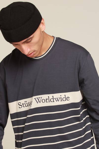 Stussy Gradient Rugby LS Tee Blue Nights