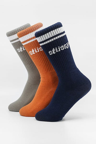 Stussy Italic Sport Sock 3PK Multi-Coloured