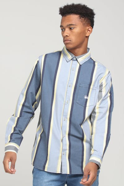 Stussy Direction Vert Stripe LS Shirt Blue