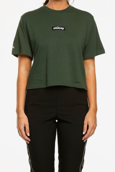 Stussy Women's Goldie OS Crop Tee Dark Green