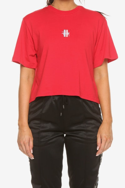 Stussy Women's Graffiti OS Crop Tee Red