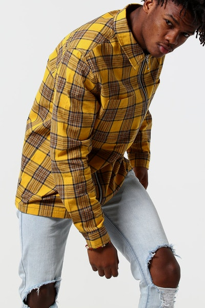 Stussy Otway Zip Thru Shirt Yellow Check