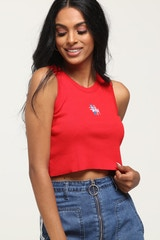 Stussy Women's Graffiti Bar Cut Off Tank Red
