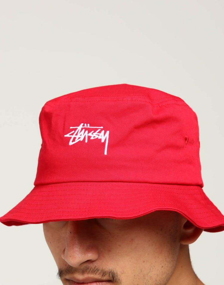 Stussy Stock Bucket Hat Vintage Red