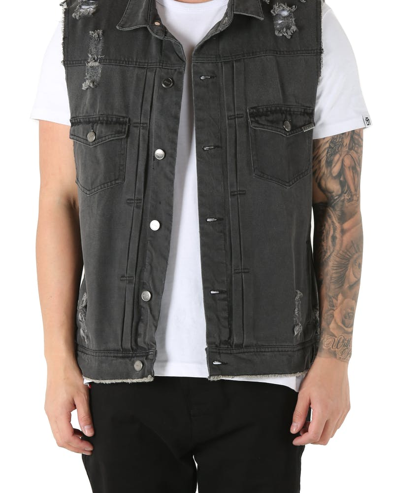 Dead Studios Destroy Denim Vest Washed Black
