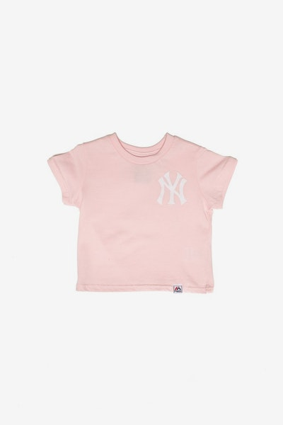 Majestic Athletic Infant New York Yankees Team Logo Tee Pink