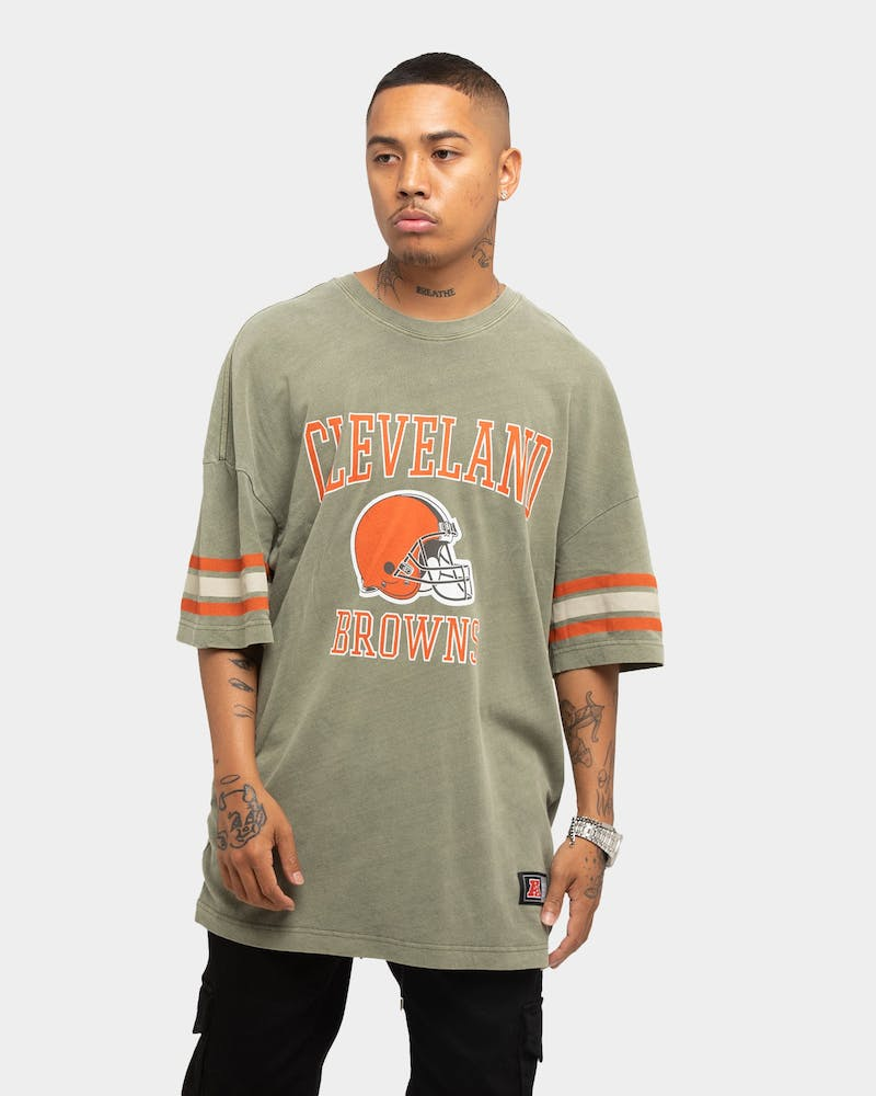 Majestic Athletic Cleveland Browns NFL Stripe Sleeve Oversized T-Shirt Gravity Grey