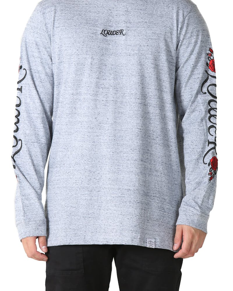 Lower QRS True Romance Embroidered Long Sleeve Tee Grey