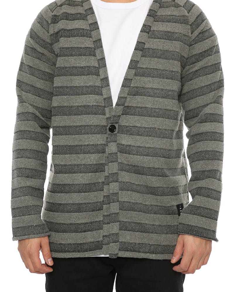 Thing Thing Step Cardi Grey Stripe