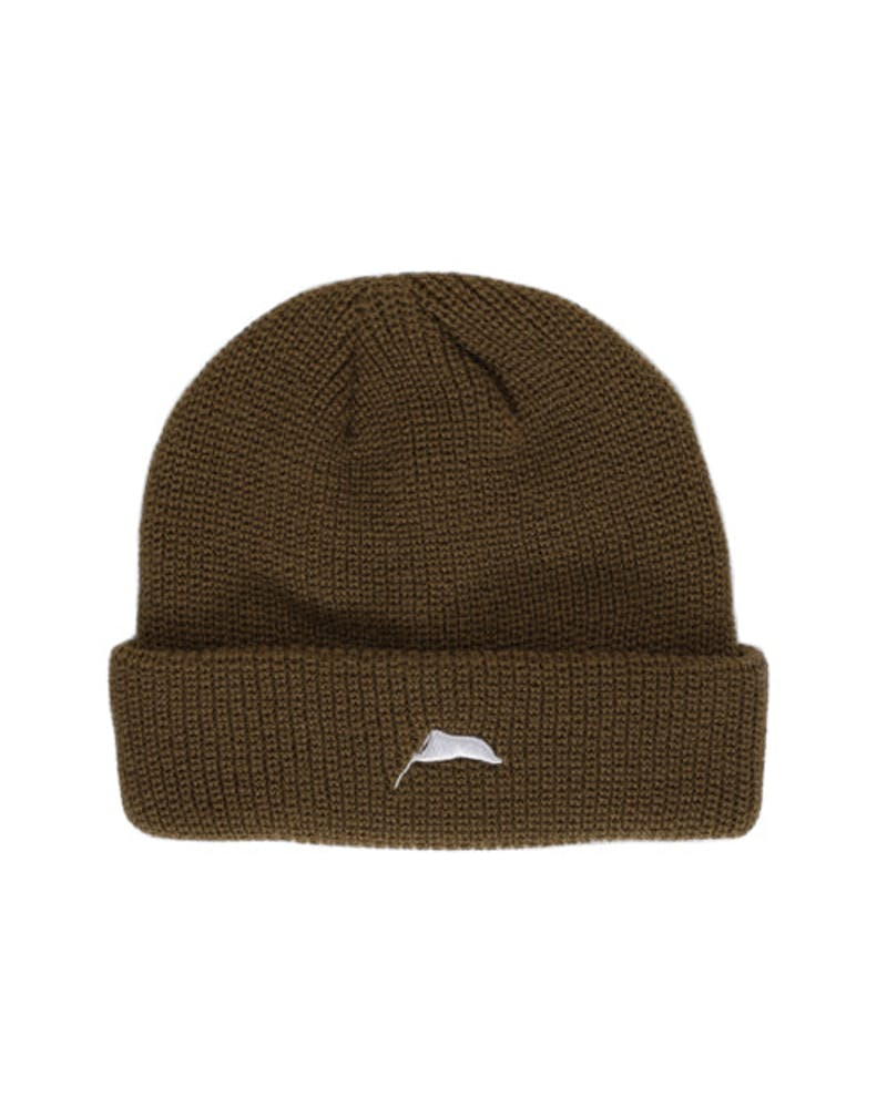 Flagged Ribbed Beanie Brown
