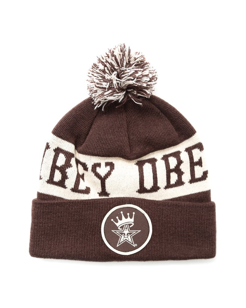 Crowned Pom Pom Beanie Brown/cream