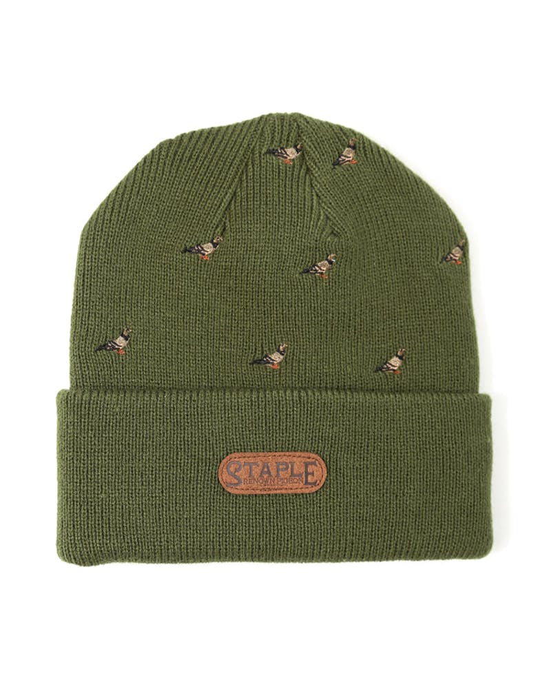 All Over Pigeon Beanie Olive/brown