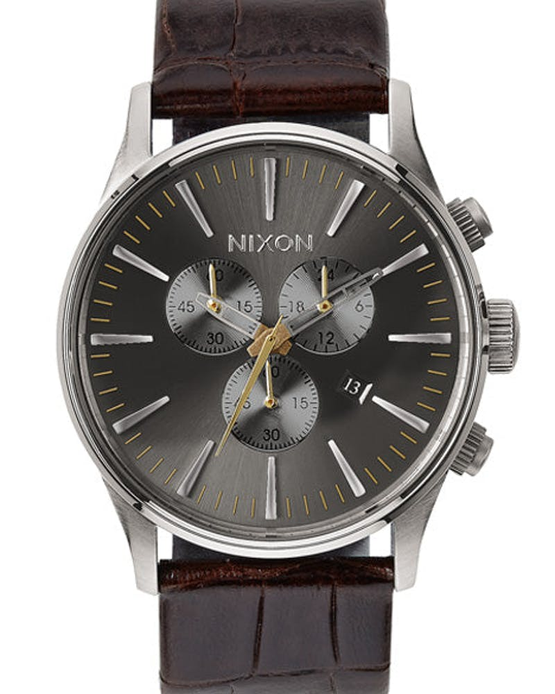 Sentry Chrono Leather Dark Brown/silv