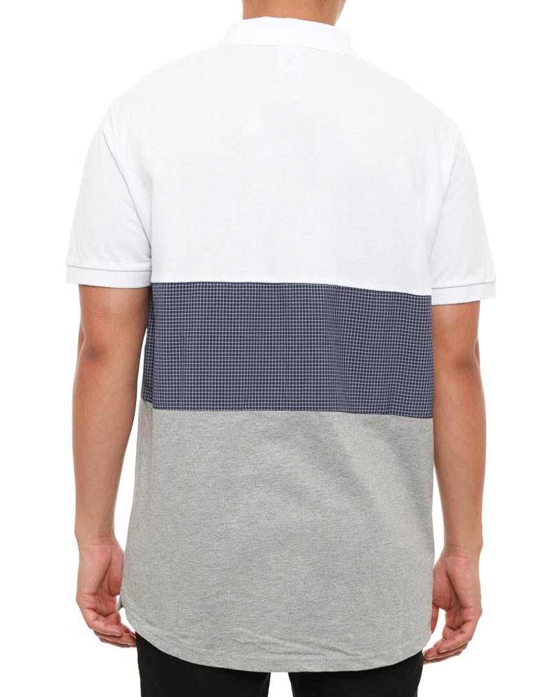 Carnegie Polo Short Sleeve Top White/grey