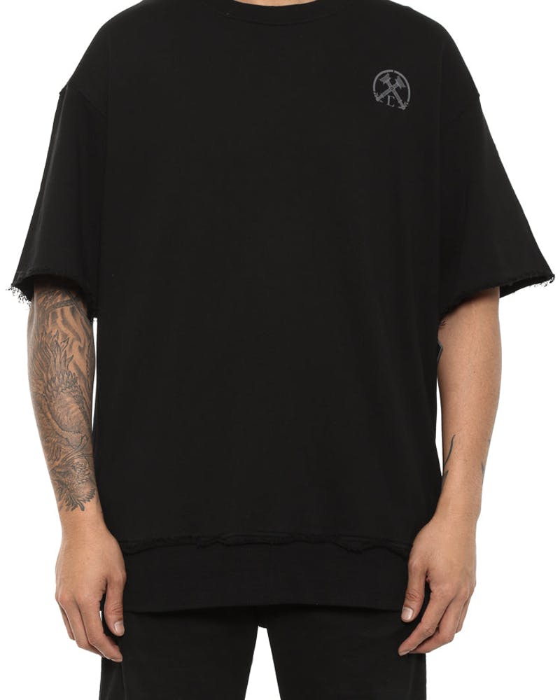 Oversize Raw Cut Short Sleeve Crew Black