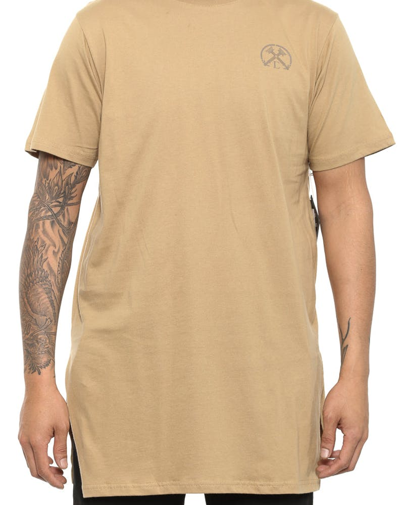 Torches Long Side Split Tee Beige
