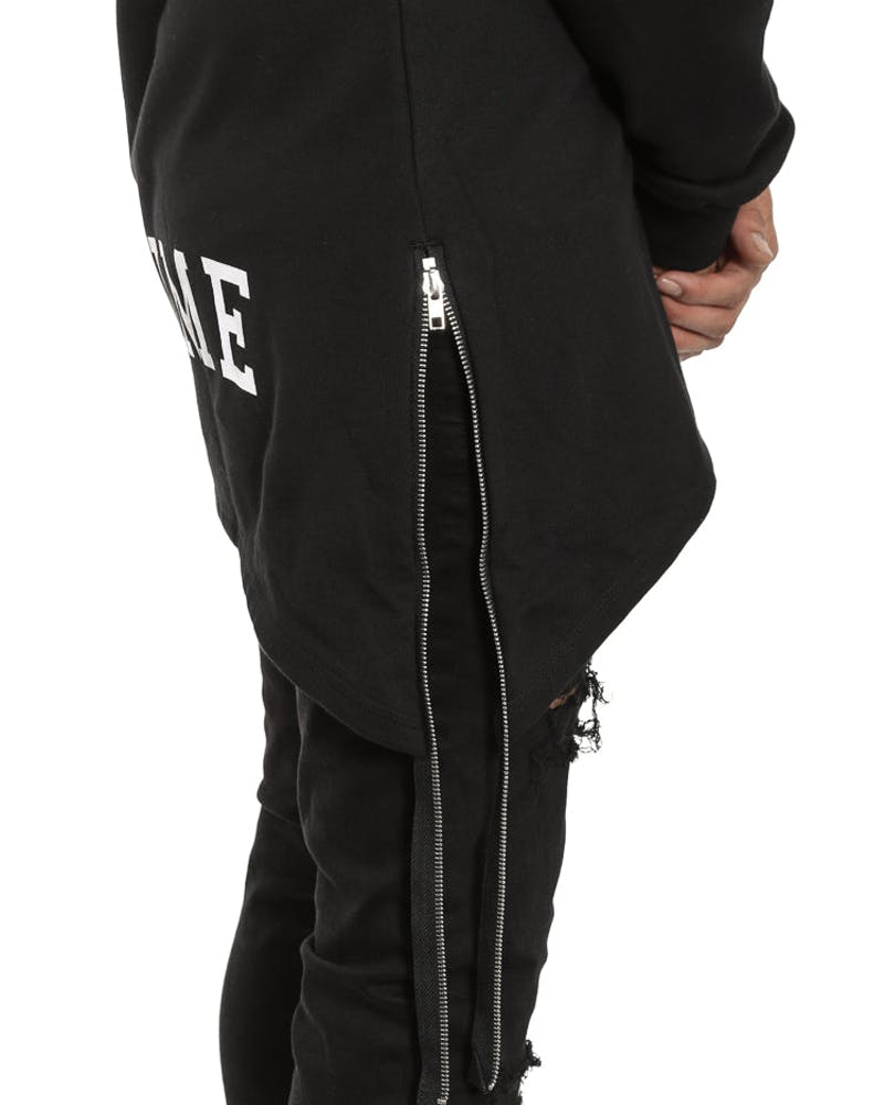 Extended Zip Scallop Hood Black