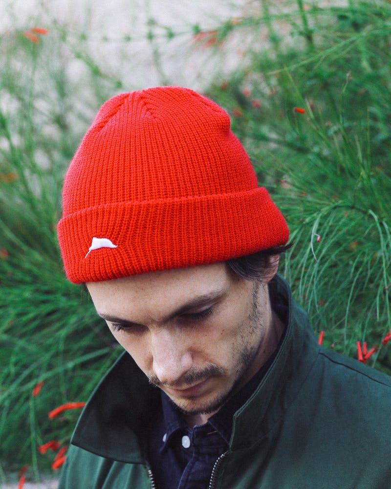Flagged Ribbed Beanie Red