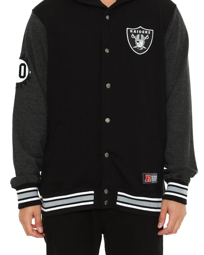 Raiders Letterman Fleece Jacket Black