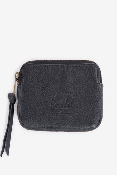 Oxford Leather Pouch Wallet Black Pebble