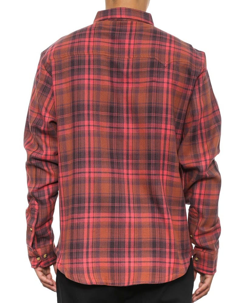 Bird Dog Flannel Button Up Red