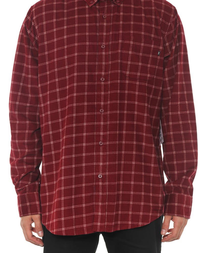 Halen Woven Long Sleeve Button-up Burgundy