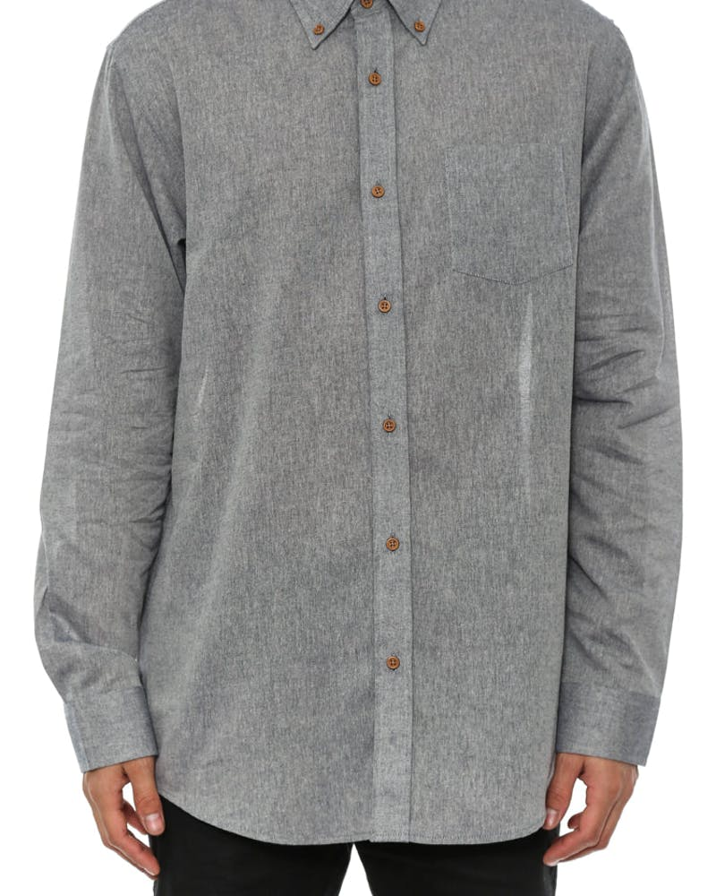 Edward Long Sleeve Button-up Navy