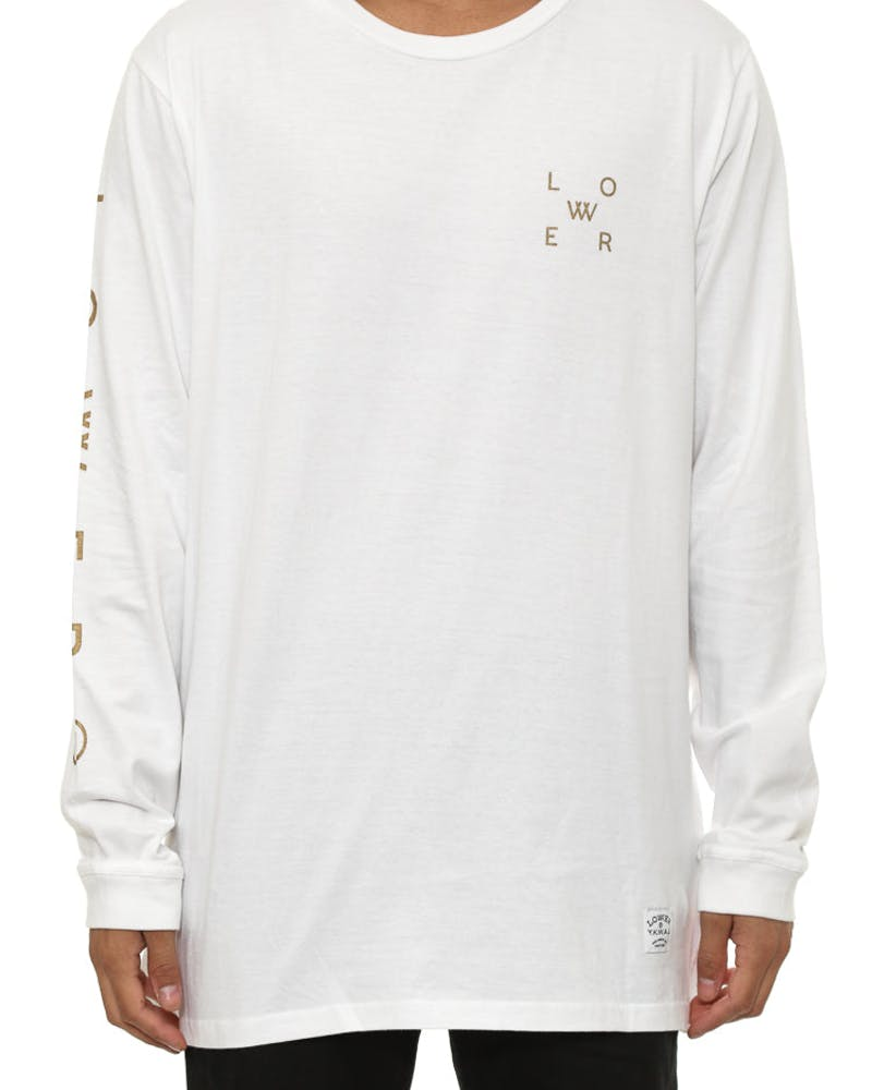 Spaced Qrs L/sleeve Tee White