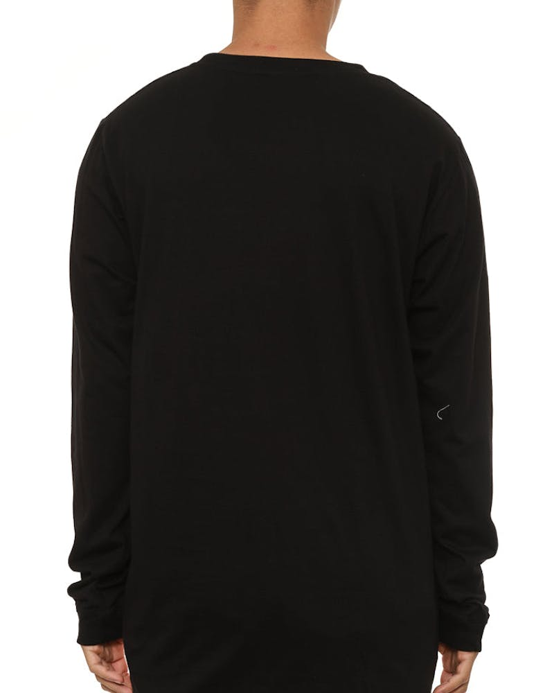 Spaced Qrs L/sleeve Tee Black