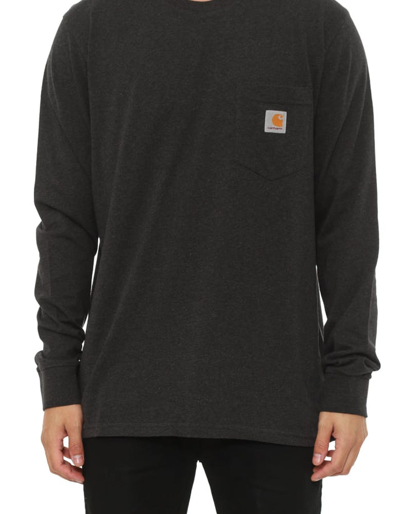 Long Sleeve Pocket Tee Black Heather