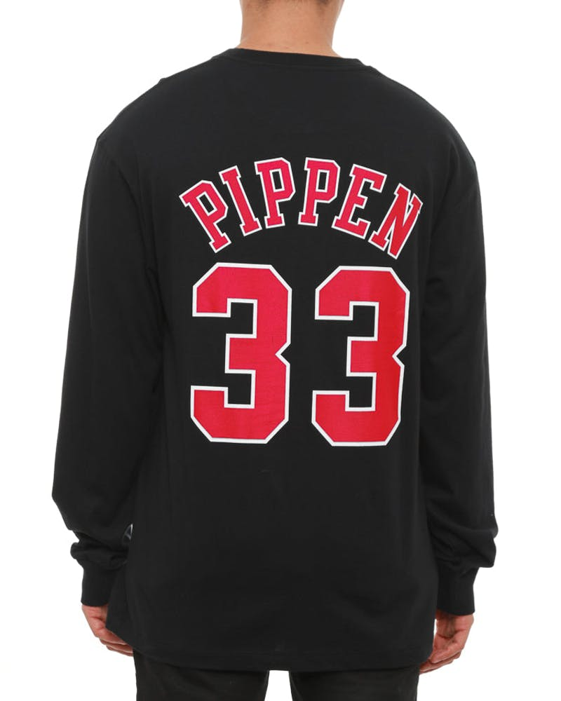 Bulls Pippen #33 Long Sleeve Tee Black/red