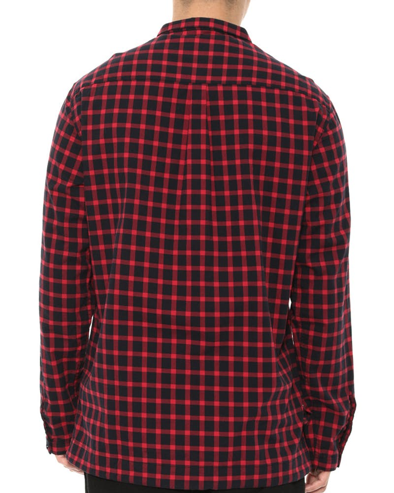 Outer Ring Draw Cord Button Up Crimson/black