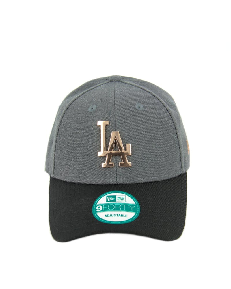 New Era Dodgers 9FORTY Metal Strapback Charcoal Heathe